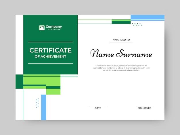 Nowoczesny i prosty wektor szablonu certyfikatu w kolorze zielonym