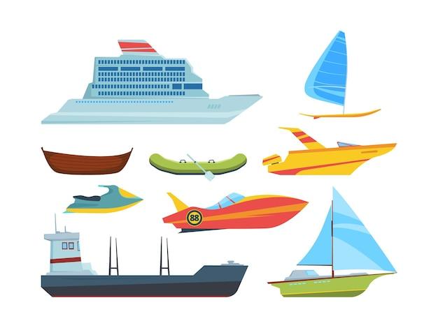 Nowoczesny i stary zestaw płaskowników do transportu wody. kolekcja statków i łodzi. pakiet pojazdów morskich. motorówka, jacht, łódź wiosłowa.
