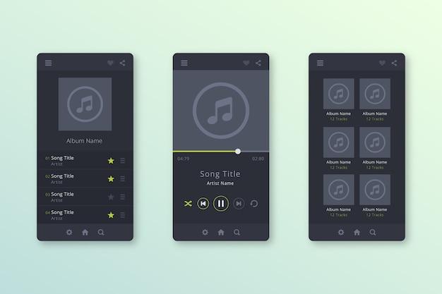 Nowoczesny interfejs aplikacji odtwarzacza muzyki