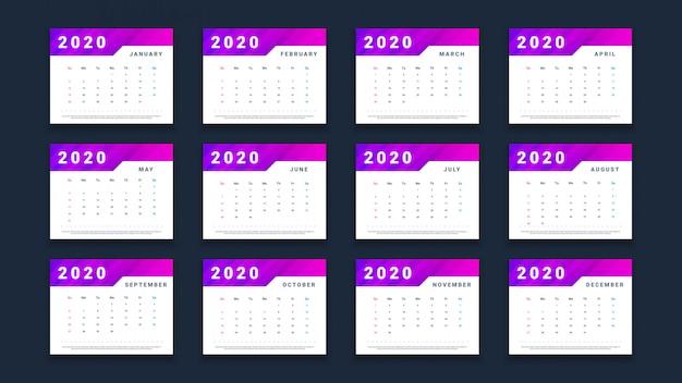 Nowoczesny kalendarz 2020 na białym tle na czarnym tle