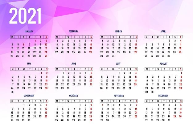 Nowoczesny kalendarz 2021 na tle wielokąta