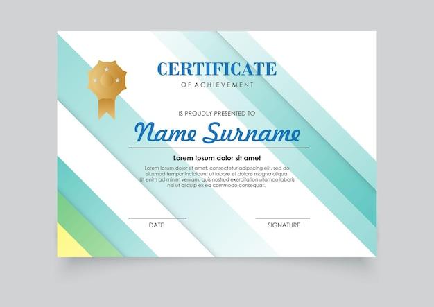 Nowoczesny kolor gradientu szablonu certyfikatu. łatwe do druku.