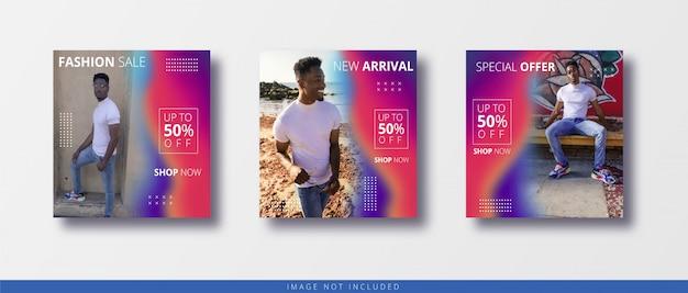 Nowoczesny kolorowy instagram i media społecznościowe publikują szablon sprzedaży banerów mody