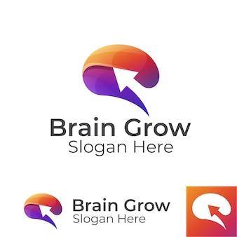 Nowoczesny kolorowy mózg rośnie z logo strzałki, ulepszony mózg, projekt logo inteligentnych ludzi