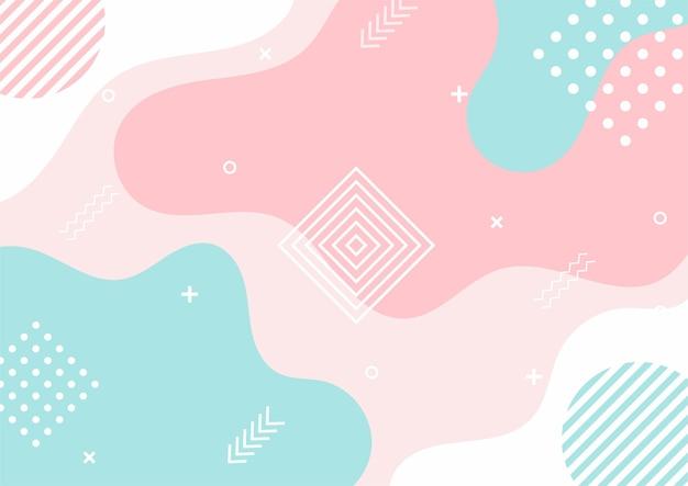 Nowoczesny kolorowy pastelowy gradient abstrakcyjny kształt geometryczny. tło w stylu memphis.