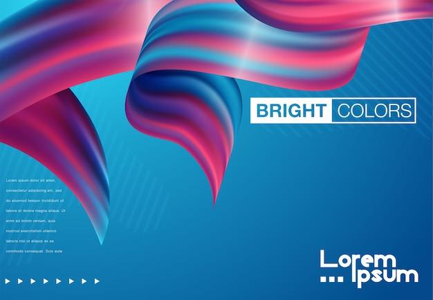 Nowoczesny kolorowy plakat przepływu. fala płynny kształt w kolorze niebieskim tle