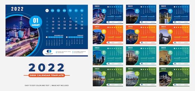 Nowoczesny kolorowy szablon kalendarza na biurko 2022
