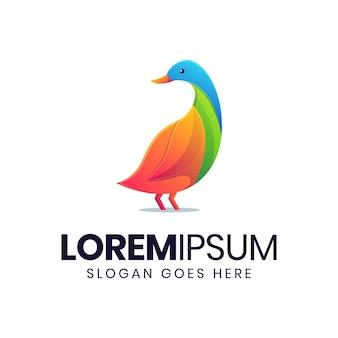 Nowoczesny kolorowy szablon logo gradientu kaczki
