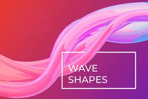 Nowoczesny kolorowy szablon plakatu dynamicznego przepływu płynu falisty kształt płynu na różowym fioletowym kolorze tła