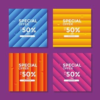 Nowoczesny kolorowy sztandar sprzedaży geometrii dla postu na portalu społecznościowym