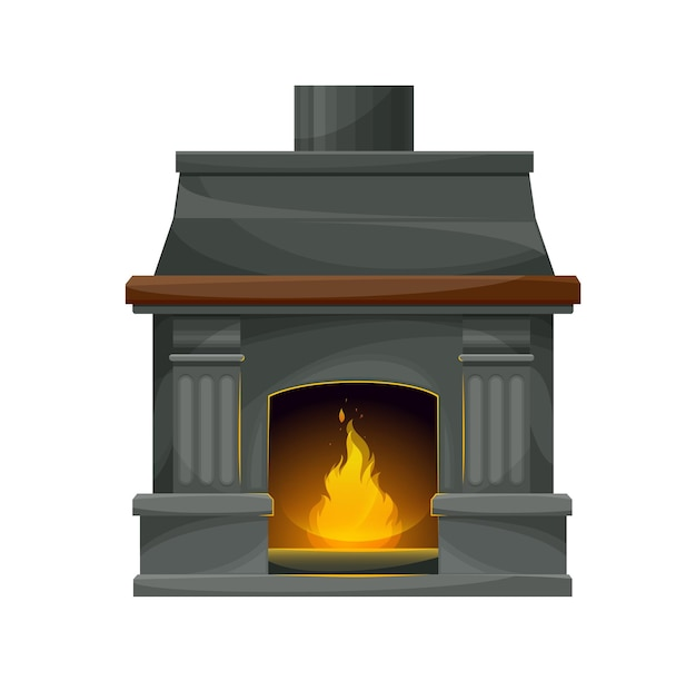 Nowoczesny kominek wewnętrzny z płonącym ogniem. wektor kominek, palenisko lub piec z szarymi kamiennymi ścianami, rama, palenisko i komin, ozdobne filary i gzyms z drewnianą półką, jasny płomień i iskry
