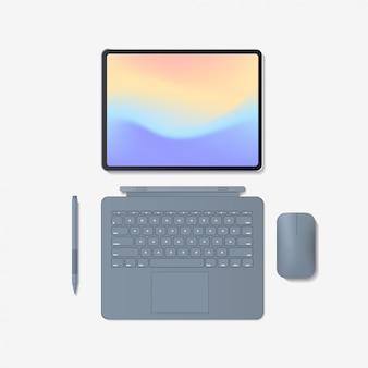 Nowoczesny komputer typu tablet z klawiaturą myszy i długopisem na białym tle