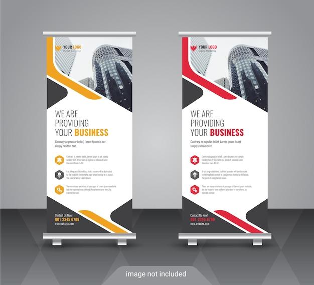 Nowoczesny korporacyjny kolorowy roll up standee banner design template