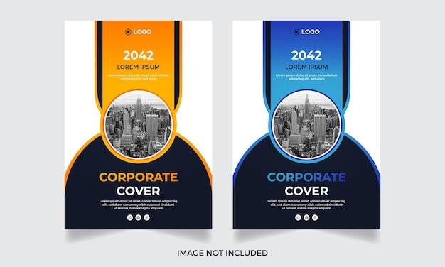 Nowoczesny korporacyjny roczny raport biznesowy szablon ulotki zestaw wektor premium