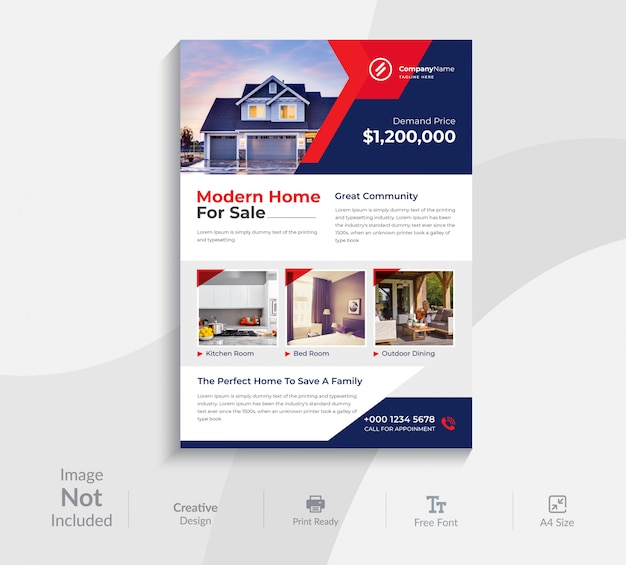 Nowoczesny, kreatywny projekt szablonu ulotki dla agencji nieruchomości