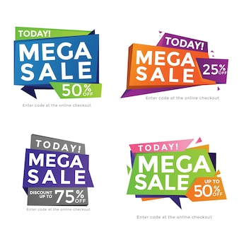 Nowoczesny Kształt Wielokąta Streszczenie Summer Sale Banner Set Premium Wektorów
