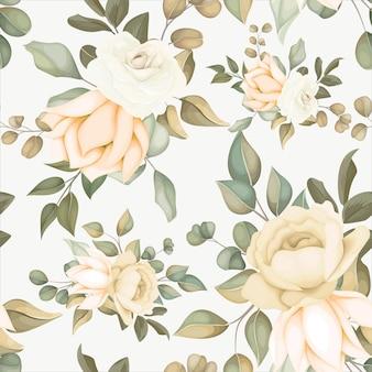 Nowoczesny kwiatowy wzór z miękkimi kwiatami
