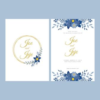 Nowoczesny kwiatowy zaproszenie na ślub szablon