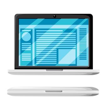 Nowoczesny laptop otwiera i zamyka odmianę. witryna internetowa lub dokument na wystawie. błyszcząca pokrywa wyświetlacza. ilustracja na białym tle.