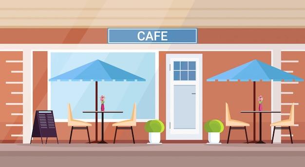 Nowoczesny letni kawiarnia sklep zewnętrzny pusty brak osób ulica restauracja taras kawiarnia na świeżym powietrzu mieszkanie poziomo