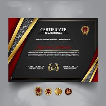 Nowoczesny luksusowy certyfikat projektu szablonu osiągnięć