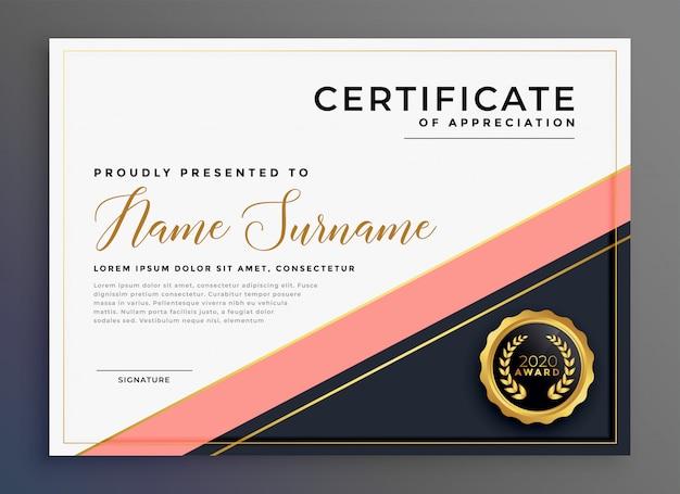 Nowoczesny luksusowy certyfikat uznania szablonu