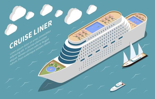 Nowoczesny luksusowy oceaniczny statek wycieczkowy na wodach przybrzeżnych izometryczny widok wycieczki morskie ilustracja