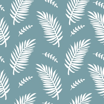 Nowoczesny minimalistyczny abstrakcyjny wzór z tropikalnymi białymi liśćmi palmowymi na niebieskim tle