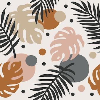 Nowoczesny minimalistyczny abstrakcyjny wzór z tropikalnymi liśćmi i kształtami doodle