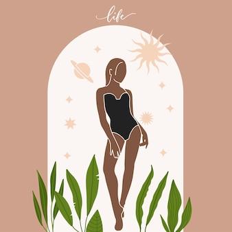 Nowoczesny minimalistyczny estetyczny baner mistycznej astrologii z piękną artystyczną kobietą z gwiazdami słońca