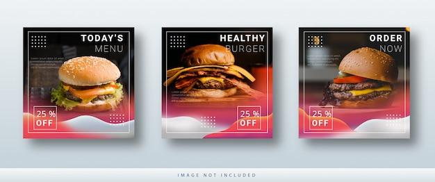 Nowoczesny minimalistyczny instagram i media społecznościowe publikują szablon sprzedaży banerów żywnościowych