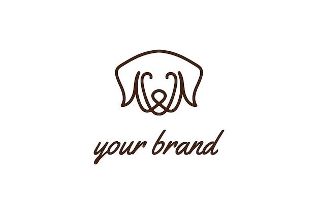 Nowoczesny minimalistyczny monogram zwierzęcy pies zarys linii logo wektor