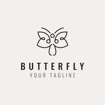 Nowoczesny minimalistyczny projekt logo motyla w kształcie kwiatu