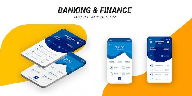 Nowoczesny minimalistyczny szablon finansowania mobilnego.