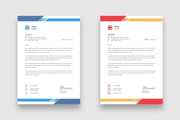 Nowoczesny minimalistyczny szablon projektu firmowego papieru firmowego z dwoma różnymi motywami kolorystycznymi
