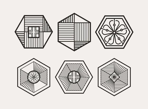 Nowoczesny minimalistyczny sześciokątny koreański tradycyjny wzór