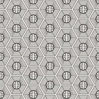 Nowoczesny minimalistyczny tradycyjny koreański wzór z geometrycznym sześciokątem i zaokrąglonym kształtem