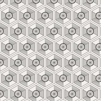 Nowoczesny minimalistyczny tradycyjny koreański wzór z geometrycznym sześciokątnym kształtem