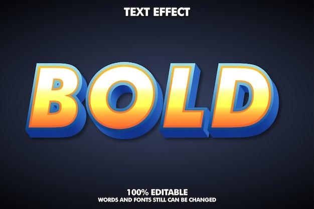 Nowoczesny mocny pogrubiony efekt czcionki 3d, kolorowy styl tekstu