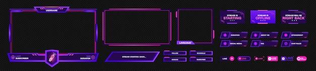 Nowoczesny motyw panelu ekranu twitch. szablon projektu zestawu ramek nakładek do strumieniowego przesyłania gier. wektor fioletowy i różowy futurystyczny design.