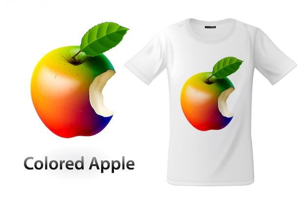 Nowoczesny nadruk na koszulce z kolorowym nadgryzionym jabłkiem, zastosowanie na bluzy i pamiątki, etui na telefony komórkowe, ilustracja.
