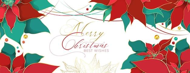 Nowoczesny nagłówek christmas poinsettia w eleganckim, luksusowym stylu. czerwone i zielone liście jedwabiu ze złotą linią na białym tle. świąteczne i noworoczne dekoracje w sieciach społecznościowych
