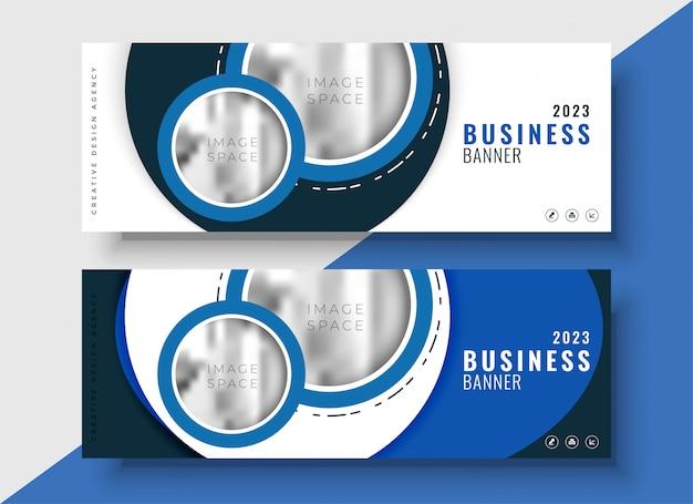 Nowoczesny niebieski baner biznesowy dla twojej marki