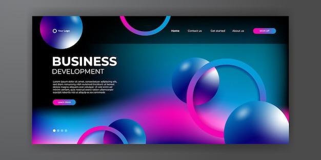Nowoczesny niebieski czerwony biznes szablon strony docelowej z streszczenie nowoczesne tło 3d. dynamiczna kompozycja gradientowa. projektowanie stron docelowych, okładek, ulotek, prezentacji, banerów. ilustracja wektorowa