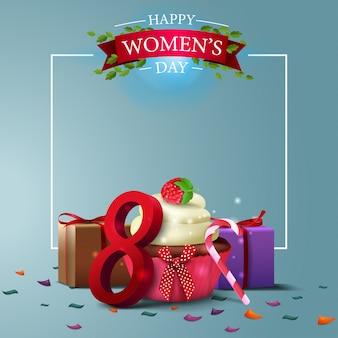 Nowoczesny niebieski pocztówka pozdrowienia szablon do dnia kobiet