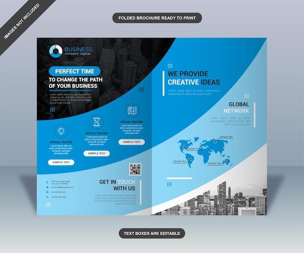 Nowoczesny niebieski składany projekt broszury biznesowej