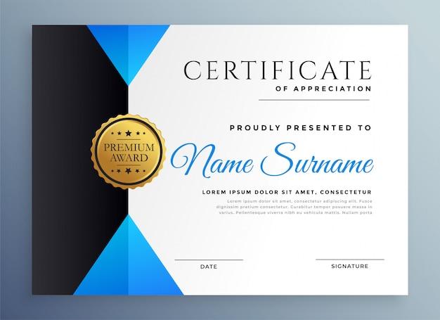 Nowoczesny niebieski szablon certyfikatu uniwersalnego