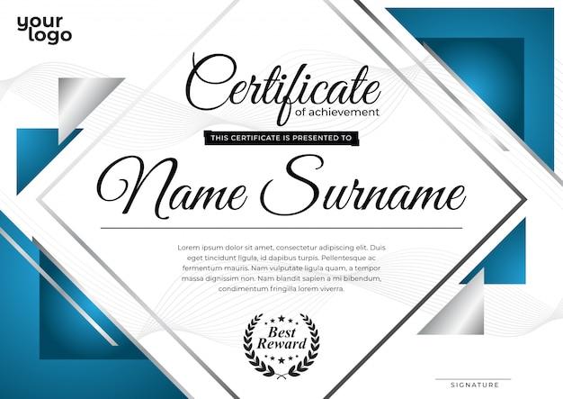 Nowoczesny niebieski szablon certyfikatu