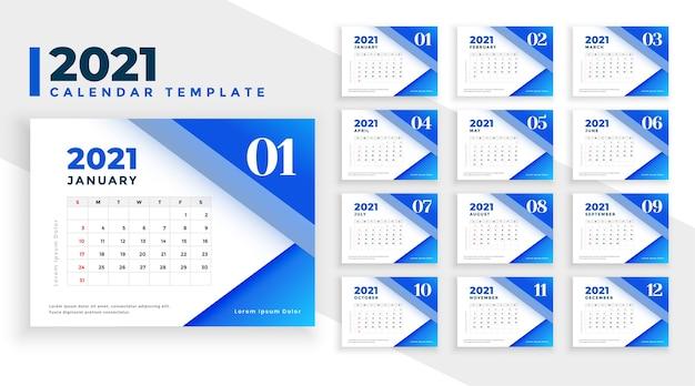 Nowoczesny niebieski szablon projektu kalendarza 2021 z geometrycznymi kształtami