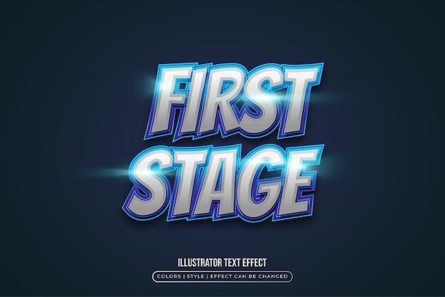 Nowoczesny, niebiesko-biały efekt tekstowy w stylu gry